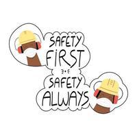segurança em primeiro lugar segurança sempre frase escrita à mão com trabalhadores com máscaras faciais vetor