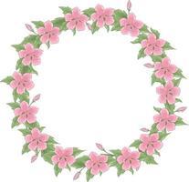 coroa de flores de vetor de muitas flores rosa delicadas e folhagens. moldura de primavera tem um lugar para texto dentro