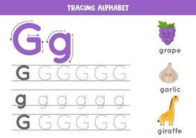 prática de caligrafia com letra do alfabeto. rastreamento g. vetor
