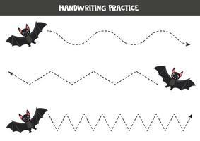 traçando linhas com morcego vampiro preto. planilha de habilidades de escrita. vetor