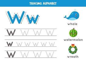 prática de caligrafia com letra do alfabeto. rastreamento w. vetor