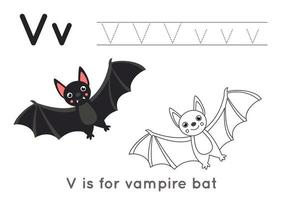 página para colorir com a letra v e morcego vampiro fofo. vetor