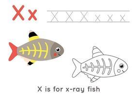 para colorir e rastrear a página com a letra xe peixes de raio x bonito dos desenhos animados. vetor