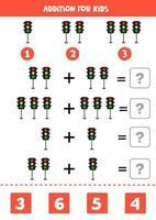 planilha de adição com semáforos de desenho animado. jogo de matemática. vetor