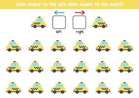 esquerda ou direita com carro de táxi. planilha lógica para pré-escolares. vetor