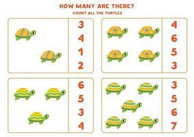 contando o jogo com tartarugas fofas. planilha de matemática. vetor