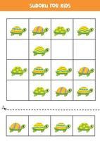 sudoku para crianças pré-escolares. jogo de lógica com tartarugas coloridas fofas. vetor