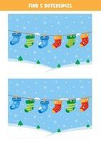 encontre 5 diferenças entre duas fotos com meias penduradas. vetor