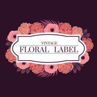 moldura floral rosa vetor