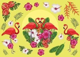 frutas tropicais e flamingos, clima de praia ao pôr do sol