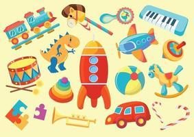 jogo infantil e conjunto de brinquedos vetor