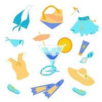 conjunto de itens de verão na moda brilhante vetor
