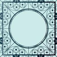 padrão medieval floral fundo modelo círculo tons de azul vetor