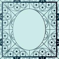 padrão medieval floral modelo de fundo azul oval em tons vetor