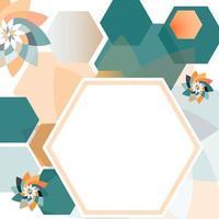 padrão hexadecimal moldura flores geométricas esmeralda blush vetor