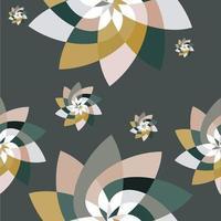 fundo gráfico padrão de dispersão de flores verde ouro vetor