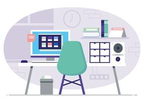 Ilustração de mesa de escritório de vetor