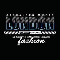 design de t-shirt com tipografia jeans londres vetor