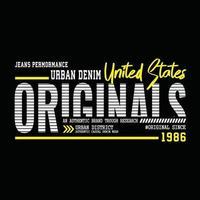 design de tipografia de roupa urbana original vetor