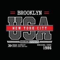 design de tipografia de roupas urbanas originais de brooklyn eua vetor