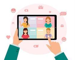 distanciamento social e amor na internet. serviço de namoro online com o conceito de relacionamento à distância, uma mão de homem segurando um tablet e escolhendo mulheres em um aplicativo de amor virtual, vetor
