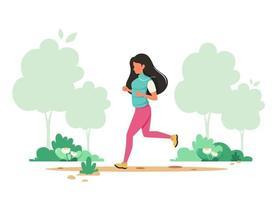 mulher correndo no parque primavera. estilo de vida saudável, esporte, conceito de atividade ao ar livre. ilustração vetorial. vetor