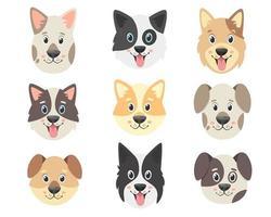 coleção de cães fofos. rostos de cães. ilustração vetorial vetor