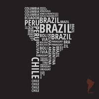 Mapa moderno da América do Sul em estilo de tipografia vetor