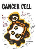 estrutura das células cancerosas. anatomia da célula cancerosa rotulada. característica do câncer. doodle, ilustração médica plana vetor