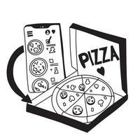 pedido online de pizza. conceito de compras online. doodle preto e branco. vetor