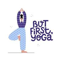 jovem garota de ioga com citação de letras inspiradoras