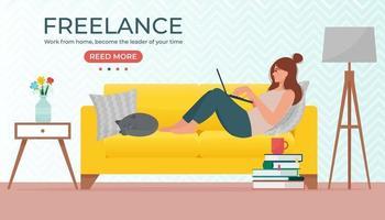 mulher deitada no sofá com o laptop no interior aconchegante. trabalhando em casa, conceito freelance. ilustração vetorial em estilo simples