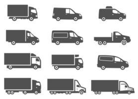 conjunto de caminhões de entrega diferentes. clipart de distribuição e logística. vetor