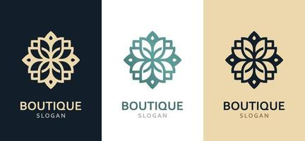 luxuoso logotipo monocromático ornamentado em cores diferentes. vetor
