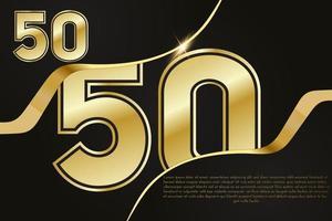 Celebração do aniversário de 50 anos. número dourado 50 com confete cintilante vetor