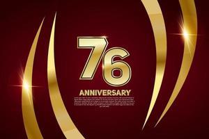 Celebração do aniversário de 76 anos. número dourado 76 com confete cintilante vetor