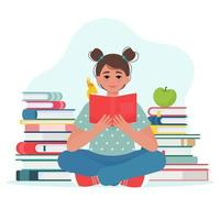 menina bonitinha segurando o livro nas mãos e está lendo um livro. crianças com o conceito de livro. ilustração vetorial em estilo simples vetor