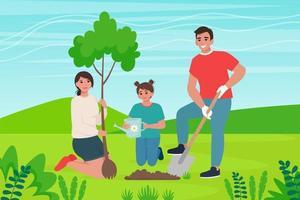 família planta uma árvore. conservação da natureza, conceito de paisagismo. ilustração vetorial em estilo de desenho animado simples vetor