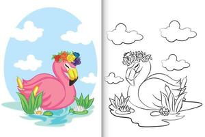 flamingo nadando no lago para livro de colorir, página para colorir. vetor