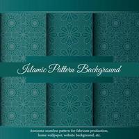 Padrão de arabescos de borda de ornamento verde luxo islâmico vetor