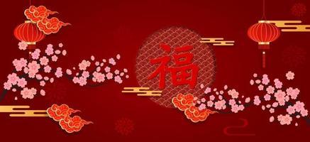 banner do ano novo chinês em papel vermelho cortado com estilo de artesanato de elementos asiáticos. bênçãos do caráter chinês escritas nele, para comemorar o ano novo chinês. vetor