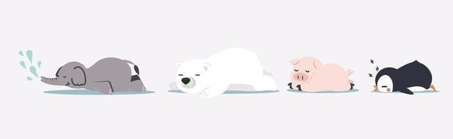 animais bonitos dos desenhos animados dormindo vetor