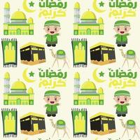 padrão islâmico sem costura para ramadan kareem vetor