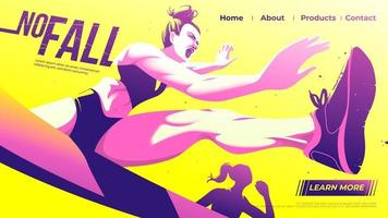 ilustração vetorial para interface do usuário ou uma página inicial de corrida de obstáculos, atleta feminina que salta através da barreira com determinação no jogo. vetor