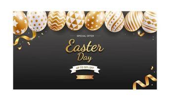modelo de banner de dia de Páscoa com ovos de Páscoa de ouro e fita sobre fundo de cor preta. vetor