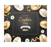 modelo de banner de dia de Páscoa com ovos de Páscoa de ouro, fita e margaridas em fundo de cor preta. vetor