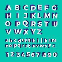 vetor 3d alfabeto isométrico e números