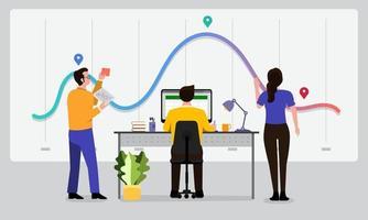 análise de dados do trabalho em equipe vetor