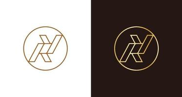 emblema de logotipo de círculo ry luxo minimalista