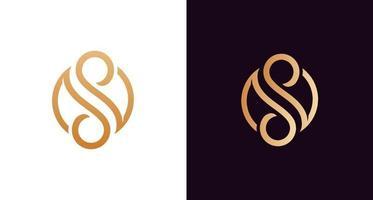 Belo monograma de letra ss de luxo em forma de infinito, elegante modelo de logotipo com letras se s e circulares vetor